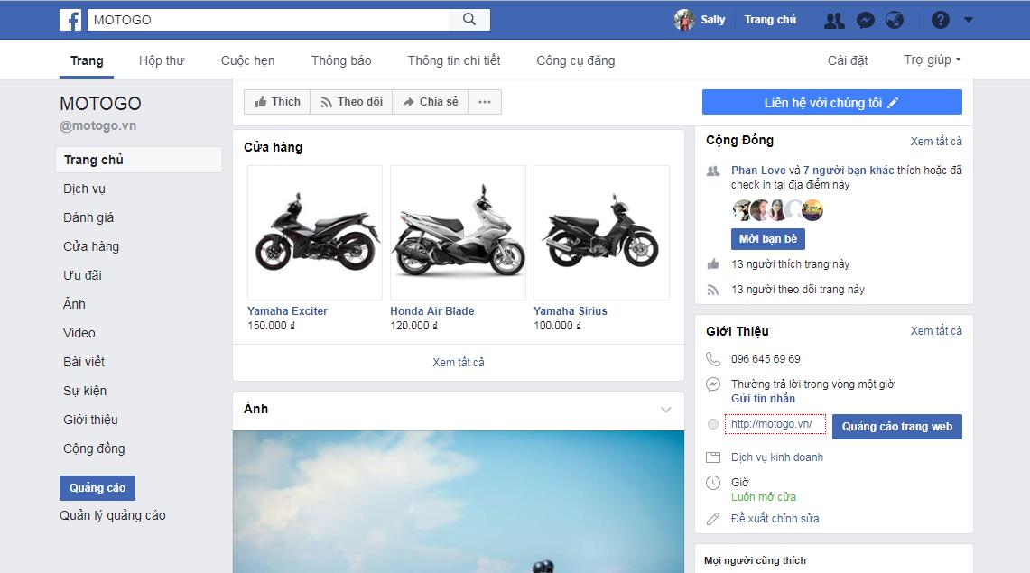 thuê xe máy hà nội facebook