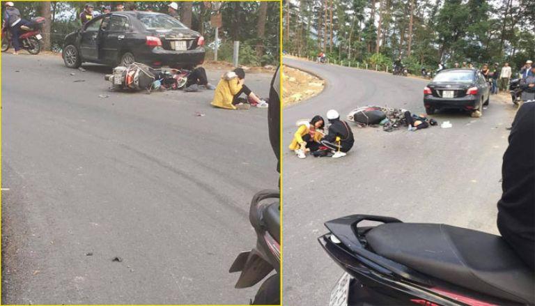 Xe tay ga đổ đèo Tam Đảo bị tai nạn
