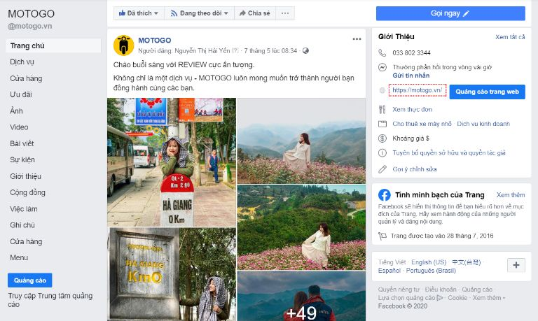 fanpage facebook motogo