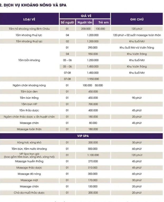 Bảng giá dịch vụ khoáng nóng và Spa ở suối nước nóng Bình Châu