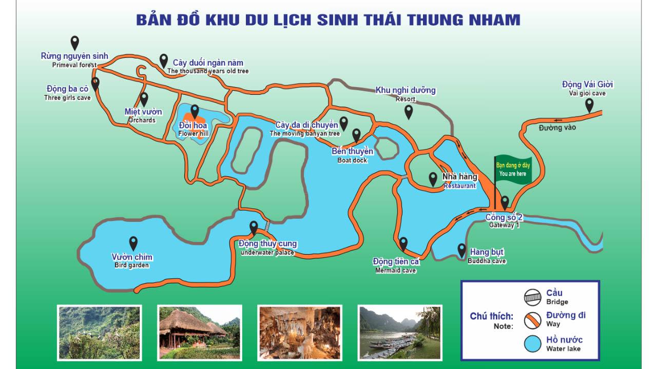 Bản đồ du lịch sinh thái Thung Nham