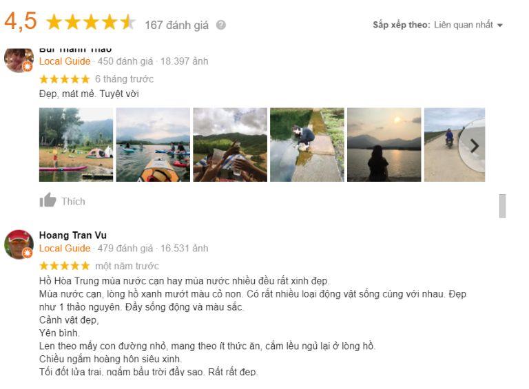 review hồ hòa trung trên google