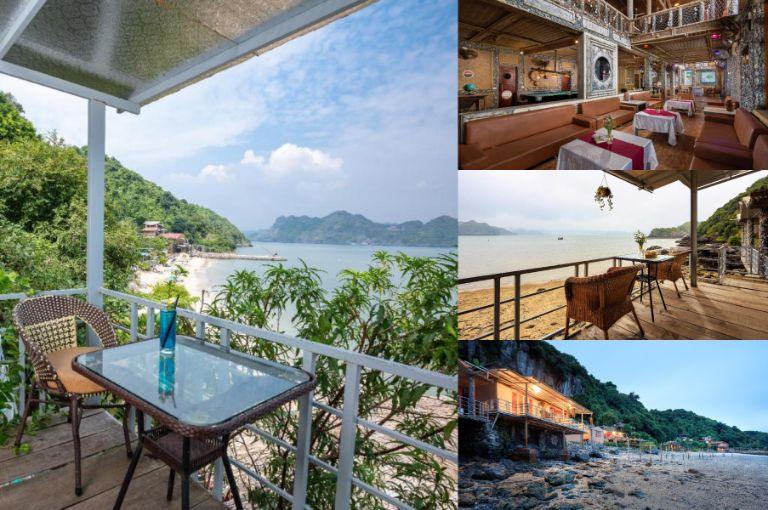 Sky Rest Cat Ong nằm ngay ven biển và tựa lưng bên vách núi đá lớn. Nơi nay có tới 19 phòng nghỉ và 2 phòng tập thể có ban công nhìn thẳng ra vịnh Lan Hạ xinh đẹp.