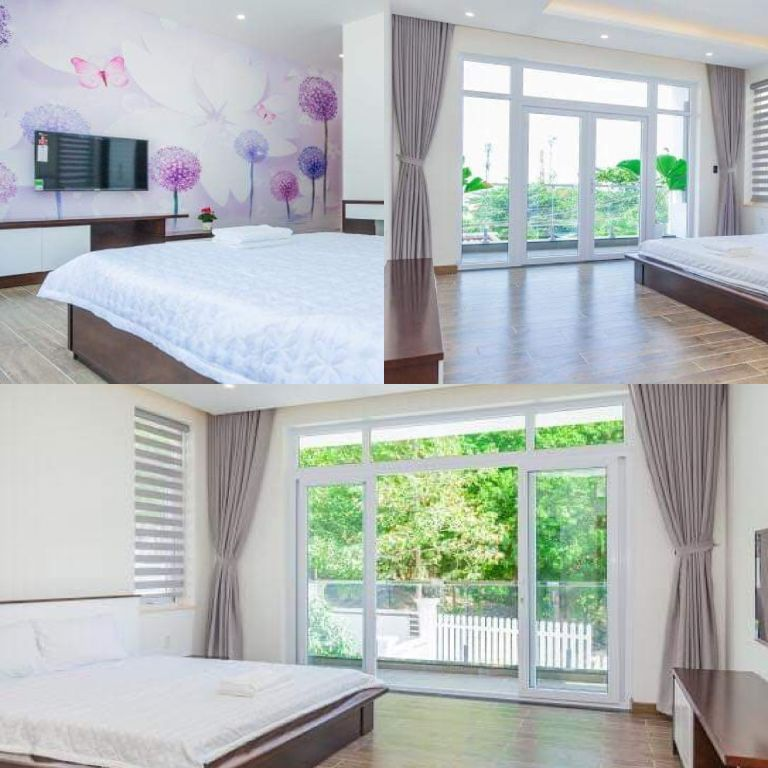 phòng ngủ tone trắng hòa hợp với thiên nhiên