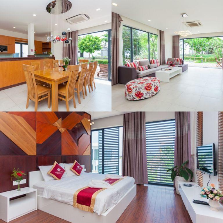 Phòng khách rộng rãi, hiện đại với không gian mở, hướng view nhìn ra hồ bơi và sân vườn.