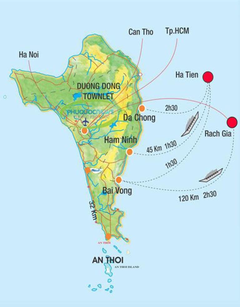 Giao thông ở đảo ngọc không quá phức tạp như nhiều điểm du lịch khác