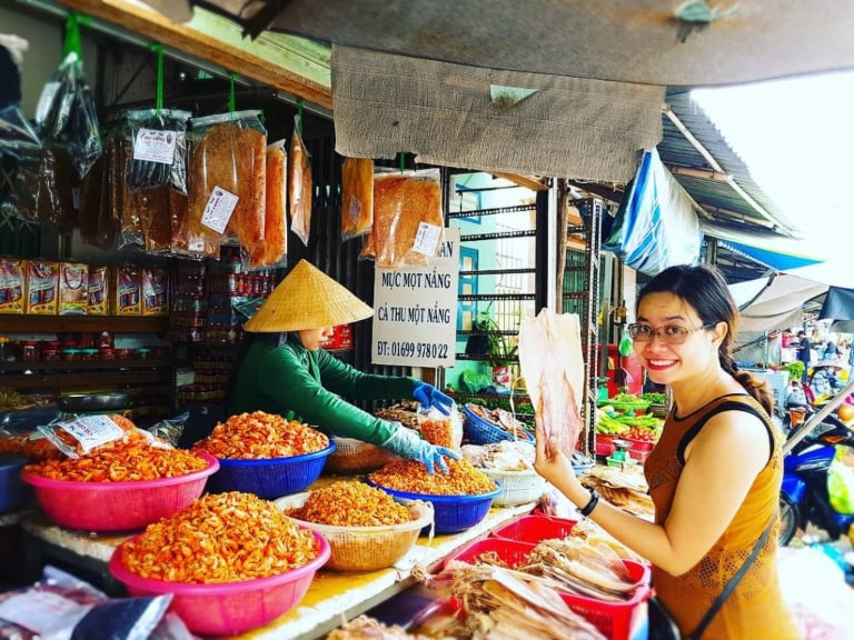 Dried seafood at the market is also very rich and diverse