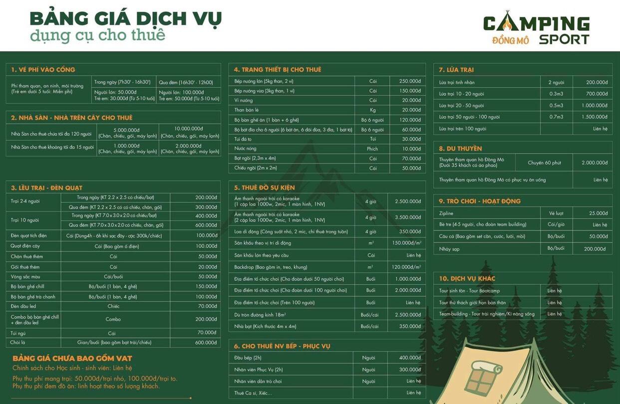 bảng giá dịch vụ du lịch đồng mô